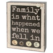 Blossom Bucket 'Family Is What Happened' Box Sign Wall D cor