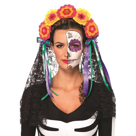 Leg Avenue Day Of The Dead Flower Headband Adult Halloween Costume - Day Of The Dead Faces For Halloween