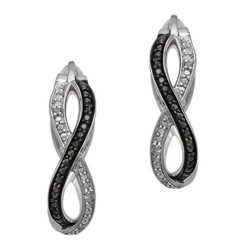 Coloron Sterling Silver Black and White Diamond Hoop Earrings