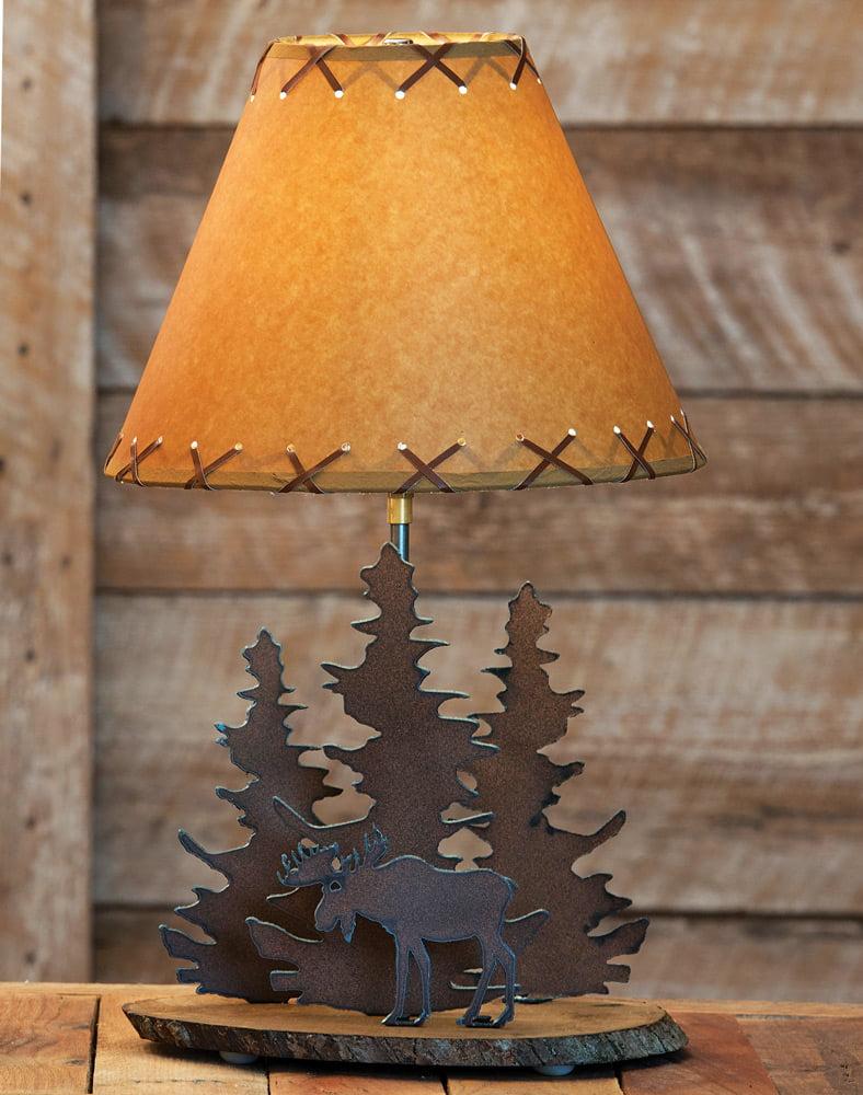 Moose rustic metal lamp cabin lighting fixtures walmart com