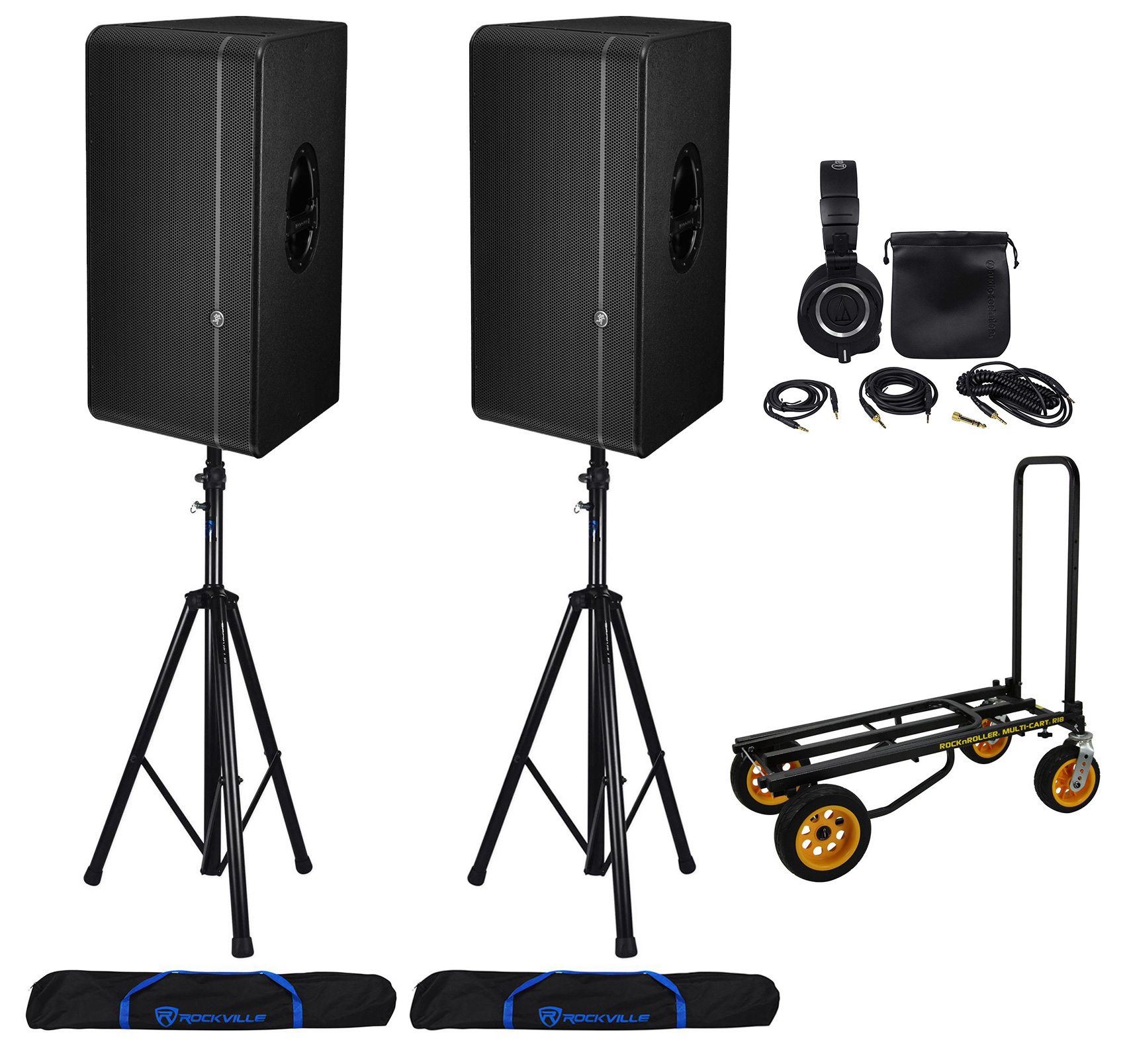 "(2) Mackie HD1531 15"" Active 3-Way 1800w Speakers+Stands+..."