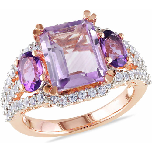 4-5/8 Carat T.G.W. Rose de France, Amethyst and Created White Sapphire Pink Rhodium-Plated Sterling Silver Cocktail Ring