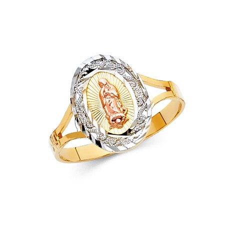 14k Tri Colored Tone Italian Gold 15mm Small Oval Shape With Spiral Design De Virgen Guadalupe Religious Ring Size 8 Available All Sizes