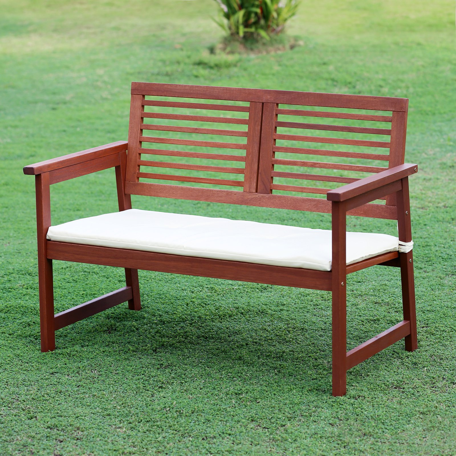 Furinno Tioman Teak Hardwood Outdoor Bench with Cushion by Furinno