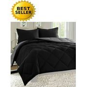 Down Alternative 3pc Comforter Set-Full/Queen, Black/Gray