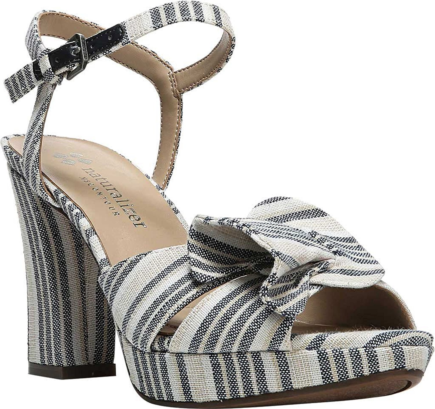 Naturalizer Womens Adelle Leather Open Toe Casual Ankle Strap Sandals by Naturalizer