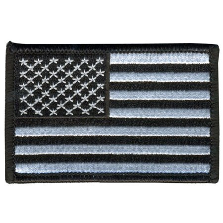 BLACK & WHITE AMERICAN FLAG, Outstanding Quality Rayon, Saw-On / VELCRO PATCH - 3