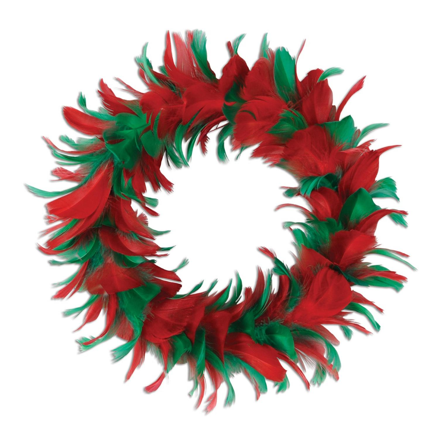 """Pack of 6 Red and Green Christmas Decorative Party Feather Wreath 8"""""""