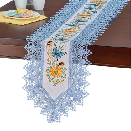 Lovely Blue Butterflies and Yellow Flowers Table Linens - Features Exquisite Embroidery, Intricate Cutwork, and Delicate Blue Lace Edges - Machine Washable - Polyester