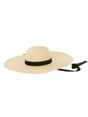 Classy Beige Floppy Hat with Black Ribbon