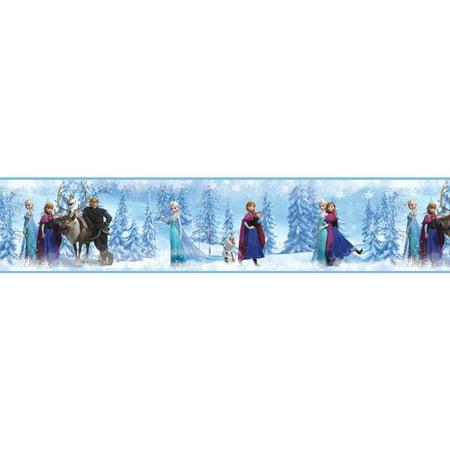 Halloween Wallpaper Disney (DISNEY FROZEN Peel & Stick BORDER Blue Wallpaper Elsa Anna Olaf Room Wall)