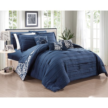 Chic Home 10-Piece Zarina Complete ruffles and Reversible Printed Queen Bed In a Bag Comforter Set Navy Sheets Included ()