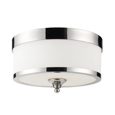 Z-Lite 307F-CH Cosmopolitan Three Light Flush Mount, Metal Frame, Chrome Finish and White Shade of Glass Material - image 1 de 1