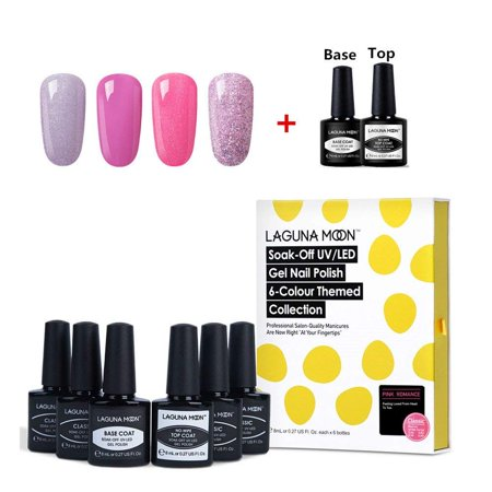 Lagunamoon Nail Kit With 4pcs Different Pink Glitter Gel Polish And Base Coat and No Wipe Top Coat Nail Polish Set 6PCS Long Lasting Lacquer 8ML - Pink Romance ()