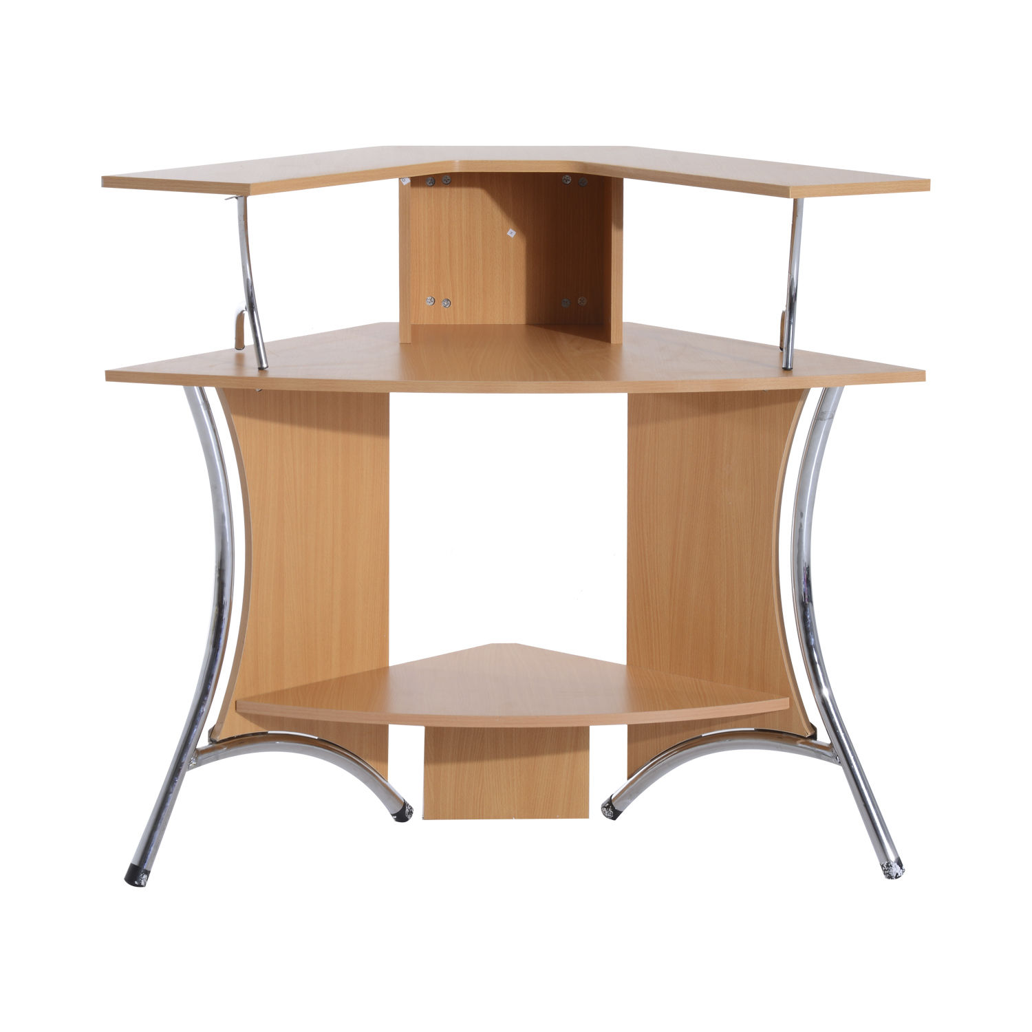 HomCom 48 Corner Computer Desk with Hutch - Natural Wood