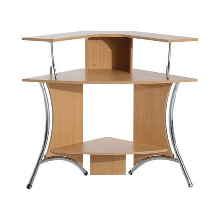 Homcom 48 corner computer desk with hutch natural wood for All wood computer desk