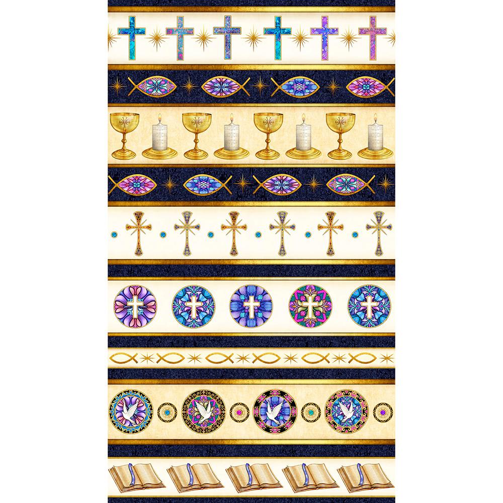 Quilting Treasures Faith by Dan Morris Religious Stripe Navy