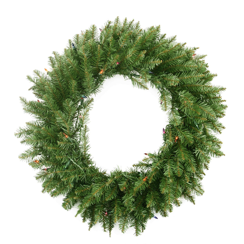 "24"" Pre-Lit Northern Pine Artificial Christmas Wreath - Multi-Color Lights"