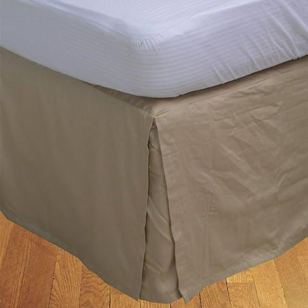 """The Great American Store Multiple Sizes & Colors Pleated Bed Skirt with 15"""" Tailored Drop, (Queen, Solid Beige) 600 Thread Count 100% Cotton - Covers Bed Legs and - Snow White Queen Costume"""