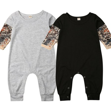 2020 New Style Infant Baby Boy Tattoo Sleeve Romper, Toddler Boy One Piece Jumpsuits Outfits 0-3 Years Black/Grey