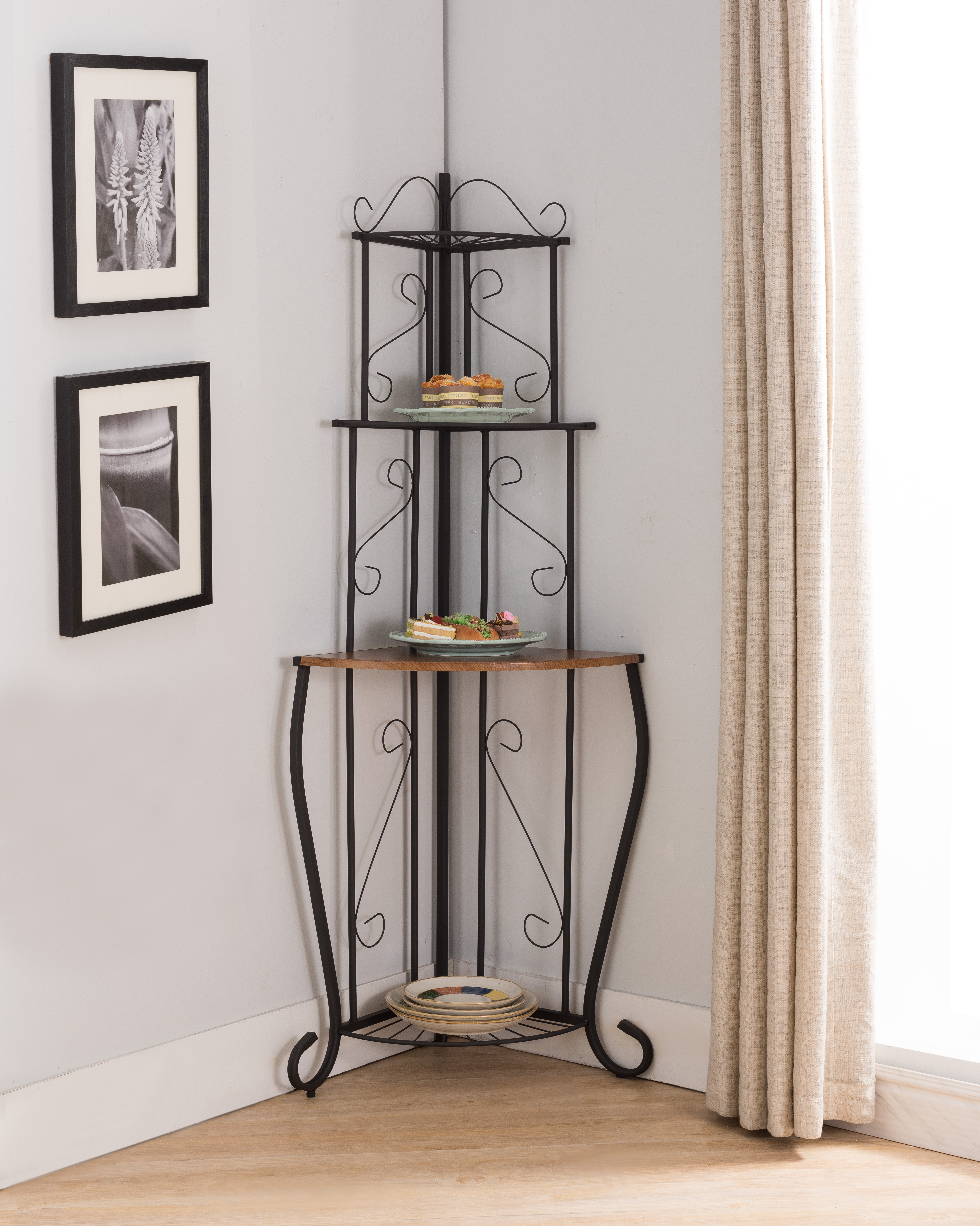 Black & Walnut Metal 3 Tier Corner Kitchen Bakers Rack Display Stand Organizer With Storage Shelves by unknown