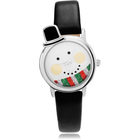 womens christmas snowman leather strap fashion watch blacksilver - Watch Black Christmas
