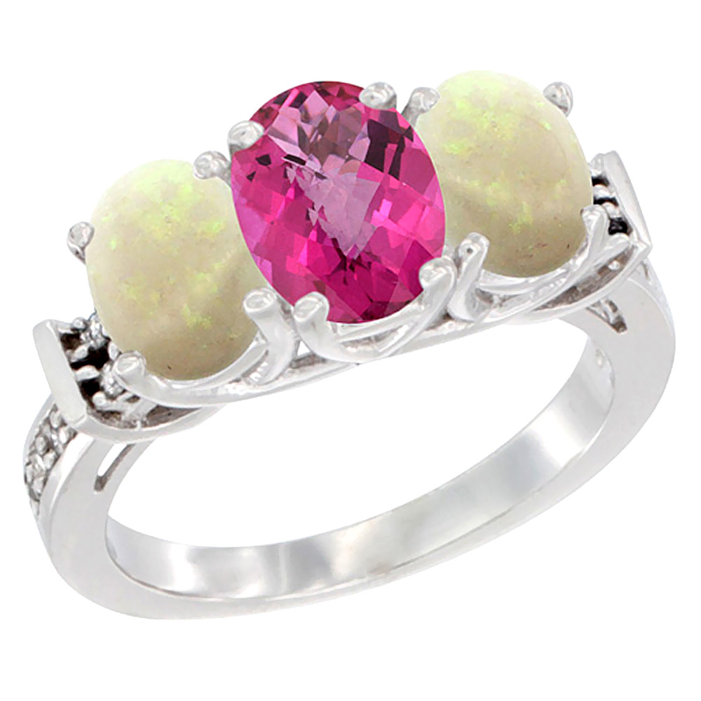 10K White Gold Natural Pink Topaz & Opal Sides Ring 3-Stone Oval Diamond Accent, sizes 5 10 by WorldJewels