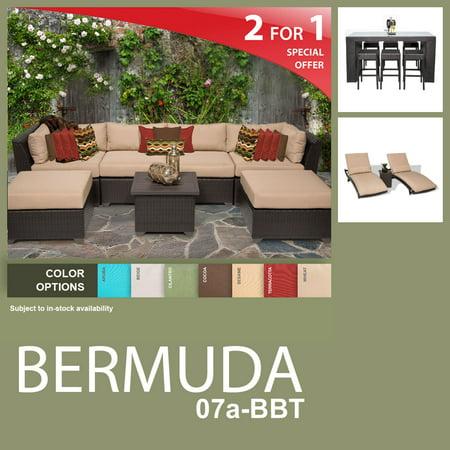 Bermuda 17 Piece Outdoor Wicker Patio Furniture Package Bermuda 07A Bbt