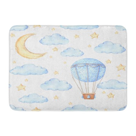 KDAGR Cloud Watercolor Air Balloon Moon and Stars Ideas for Children Room Baby Party Sketch Doormat Floor Rug Bath Mat 23.6x15.7 inch](Welcome Home Baby Ideas)