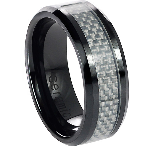 Daxx Men's Ceramic White Carbon Inlay Ring