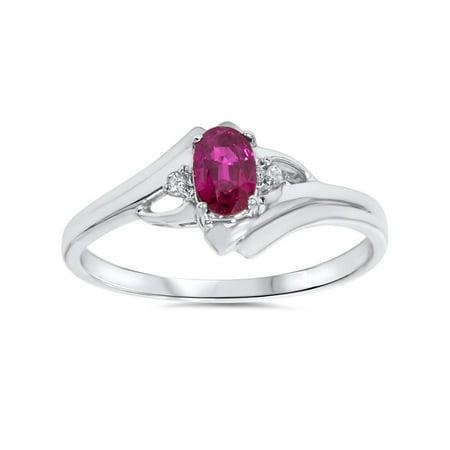 14k Gold Ruby Diamond Ring - 5/8ct Oval Ruby & Diamond Ring 14K White Gold