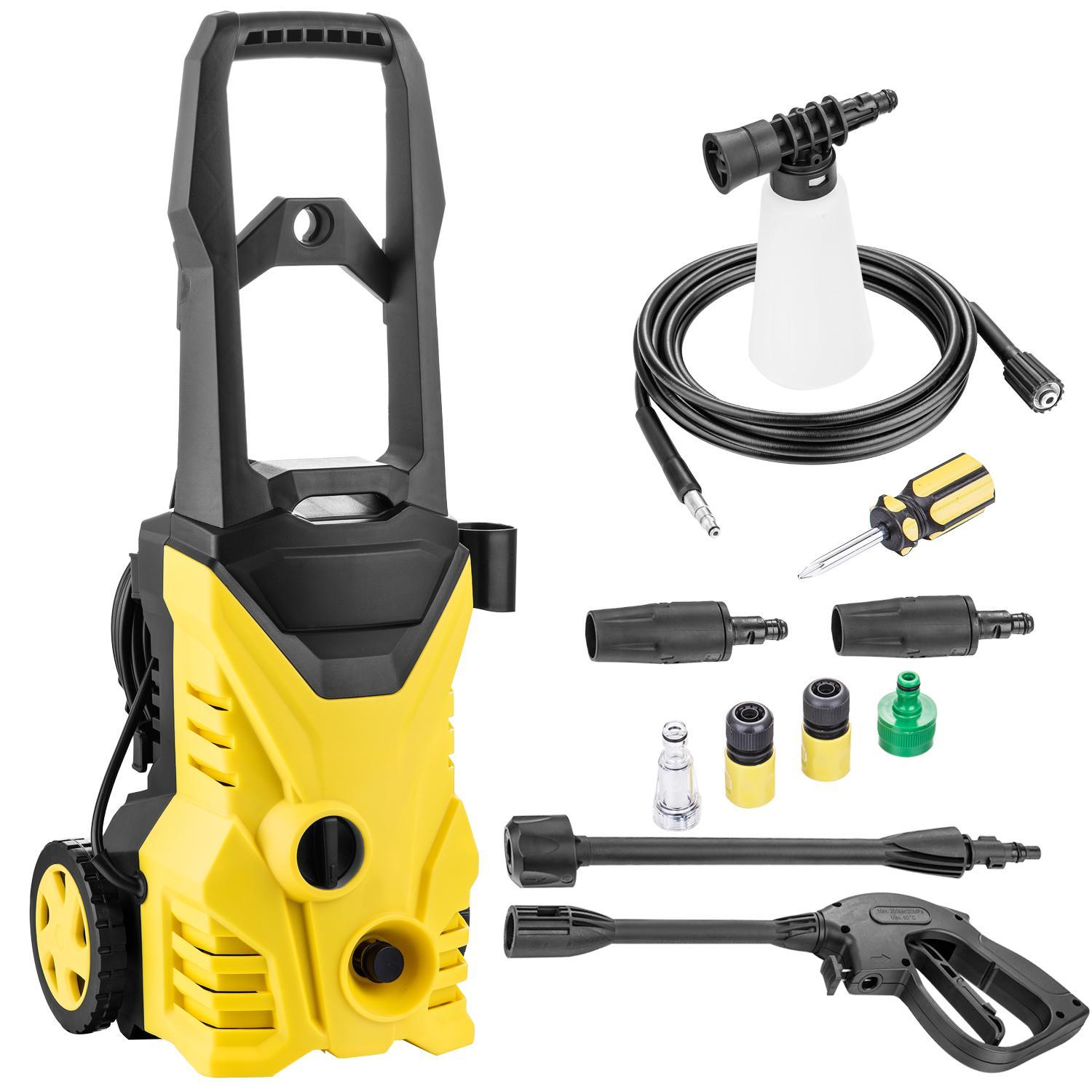 Electric Pressure Washer 1500 PSI 1.3GPM with Power Hose Nozzle Gun and Soap Dispenser,(2) Spray Nozzle Adapter ROJE