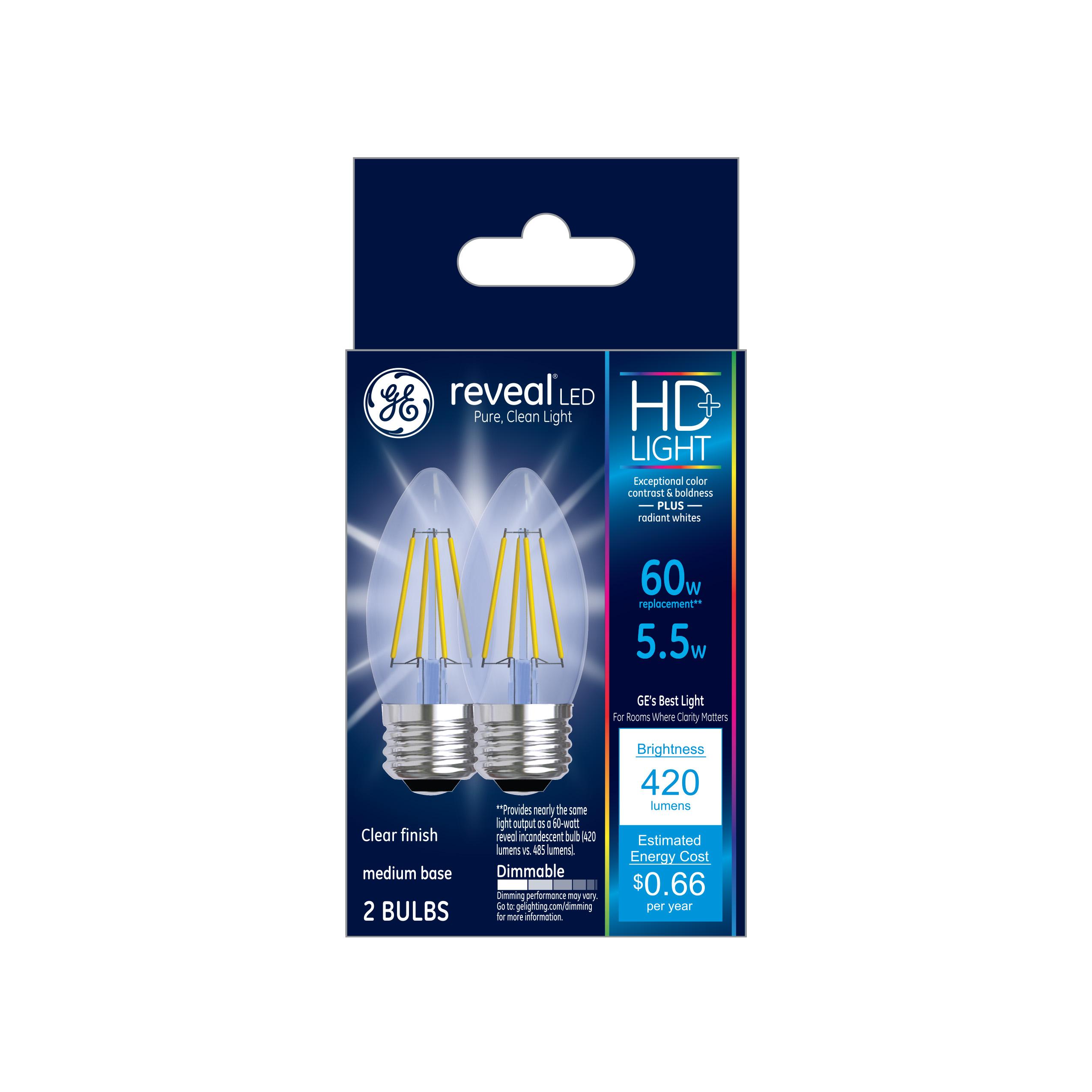 GE LED 5.5W HD Reveal Decorative Medium Base, Dimmable, 2pk Light Bulbs