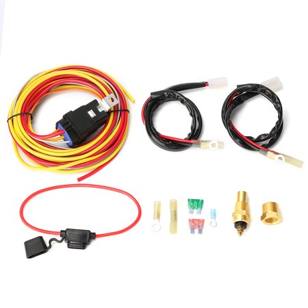 185/165 duall electric cooling fan wiring install harness thermostat  controlled relay 40a kit - walmart com