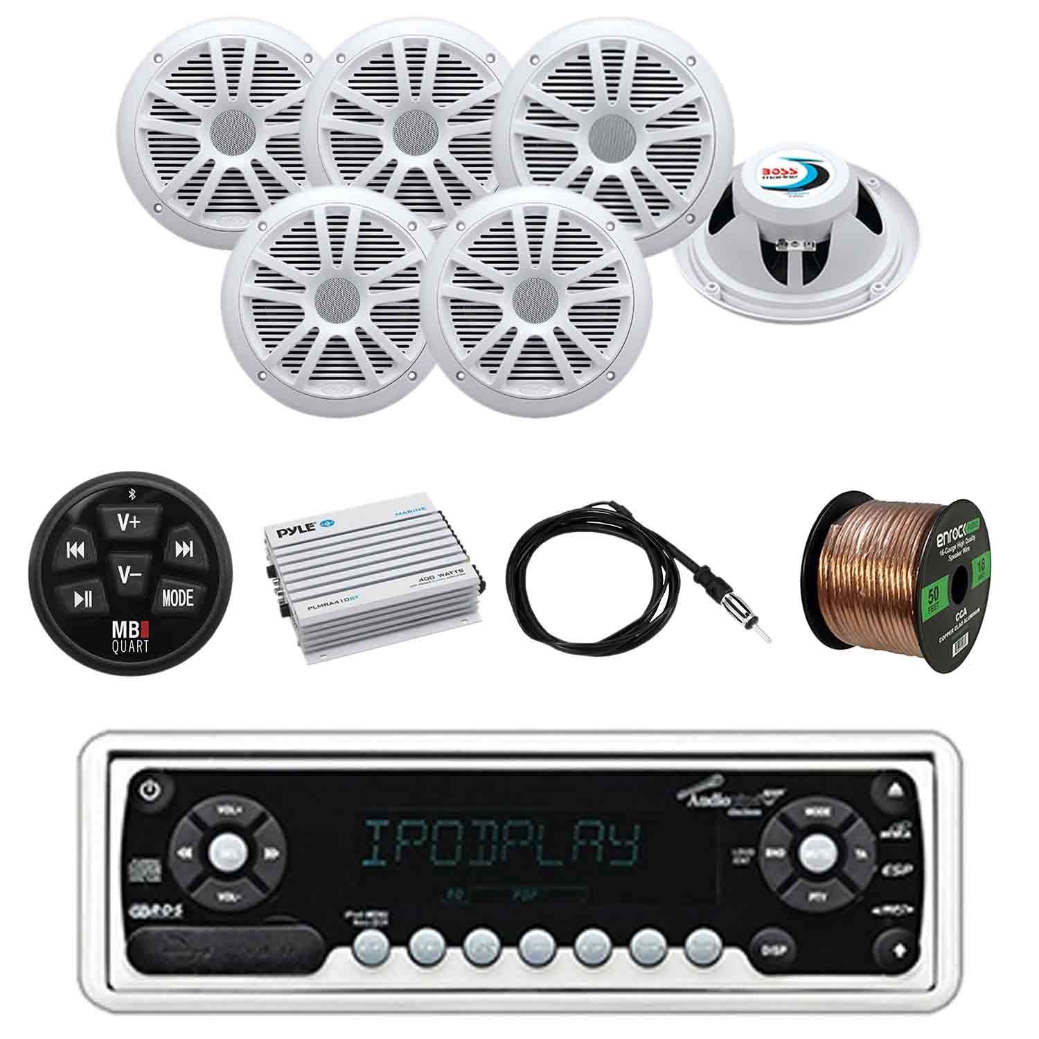 [TVPR_3874]  Audiopipe Marine Stereo with MB Quart Wired BT Preamp Controller, Boss  Audio Marine Speakers (3-Pairs), Pyle W/P BT Amplifier, Enrock Marine  Antenna and Enrock Audio Marine Grade 50' 16G Speaker Wire - | Boss Marine Radio Speakers Wiring |  | Walmart.com