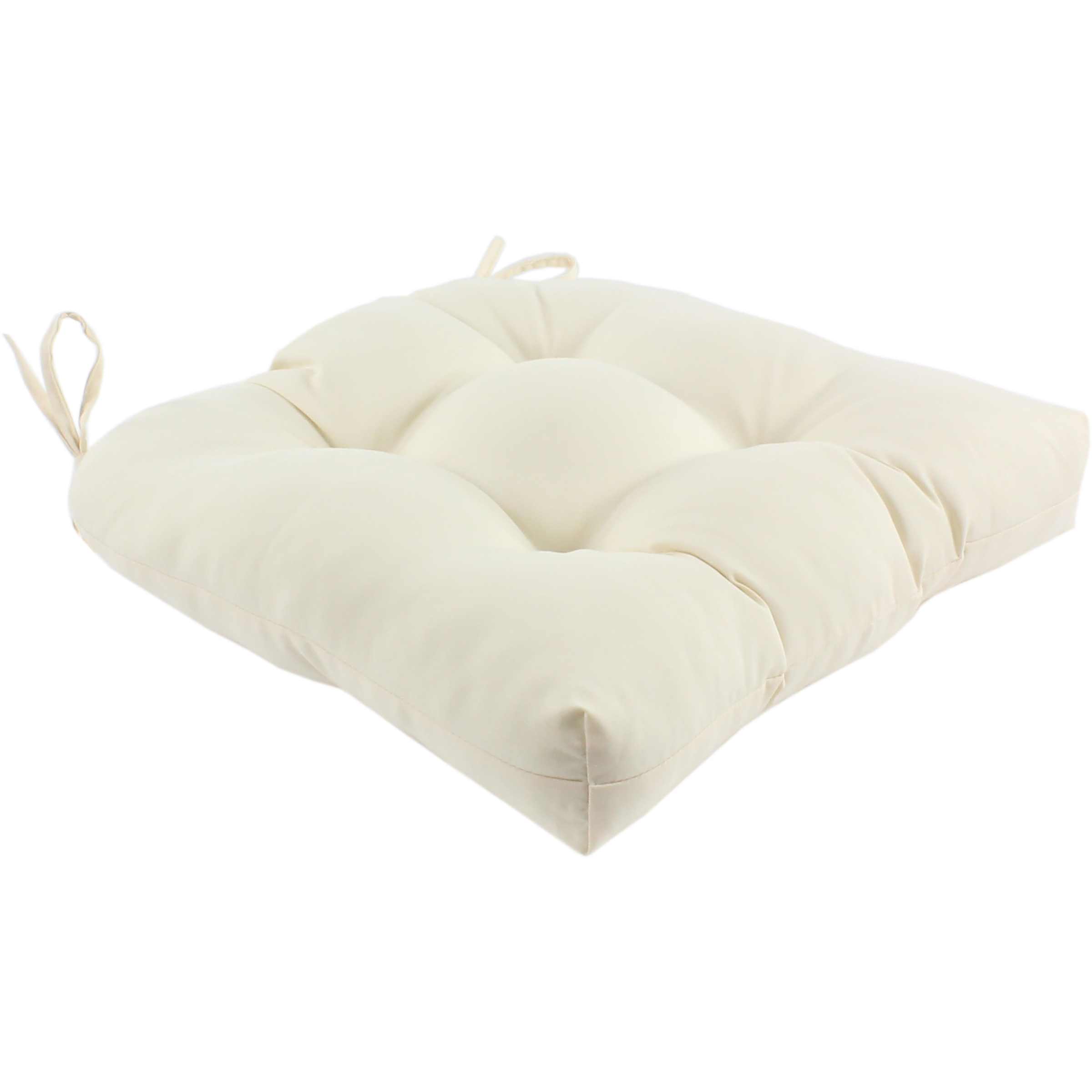 Everythings Comfy Cream Colored Indoor Outdoor Seat Cushion Patio D Cushion 20 X 20 2 Tie Backs Walmart Com Walmart Com