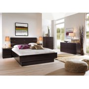 Laguna 3-Piece Full Bed, Night Stand and 5-Drawer Chest Set, Lacquered Espresso