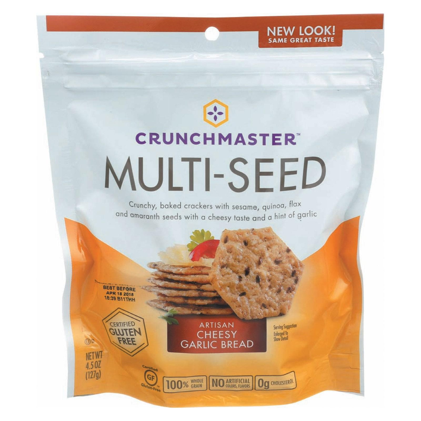 Crunchmaster Multi-seed Cracker - Artisan Cheesy Garlic Bread - pack of 12 - 4.5 Oz