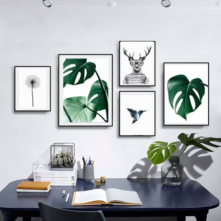 Arc Picture Light - Mrosaa Nordic Green Plant Leaf Canvas Painting Wall Art Print Picture for Living Room, Unframed