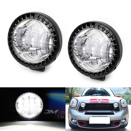iJDMTOY (2) Black Trim High Power Xenon White LED Rally Driving Lights w/DRL Feature For 2nd Gen MINI Cooper R56 R55 R57 R59