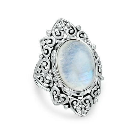 Filigree Scroll Oval Rainbow Natural Gemstone Boho Fashion Statement Full Finger Moonstone Ring Band 925 Sterling Silver