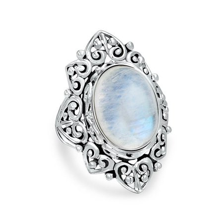 Filigree Scroll Oval Rainbow Natural Gemstone Boho Fashion Statement Full Finger Moonstone Ring Band 925 Sterling - Oval Genuine Moonstone Ring