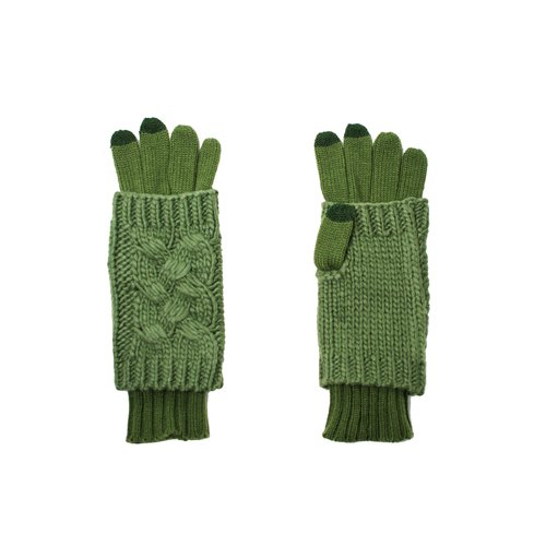 Womens Cable Knit Layered 2-in-1 Gloves