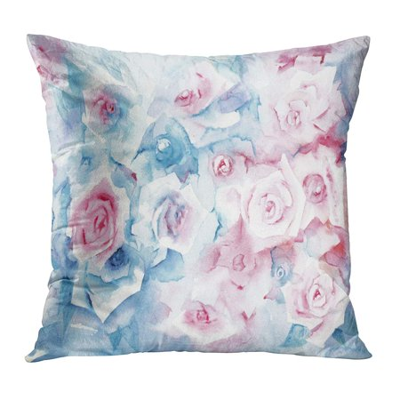 ECCOT Blossoms Watercolor Painting Roses Delicate Pastel Pink and Blue Flowers Bouquet Bunch Light Petals PillowCase Pillow Cover 20x20 inch