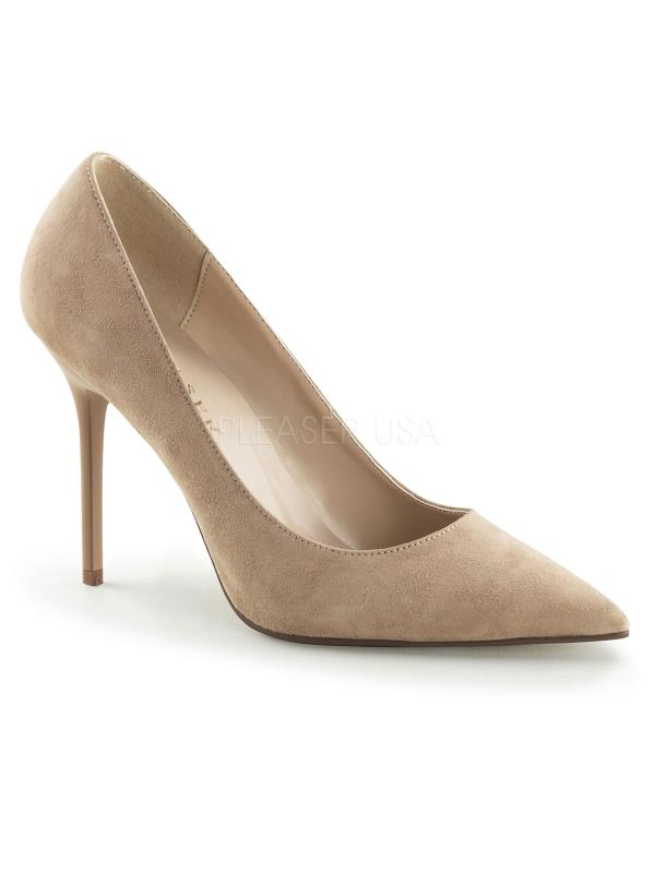 "Nude Suede Pleaser Single Soles 4"" Heel Size: 5"