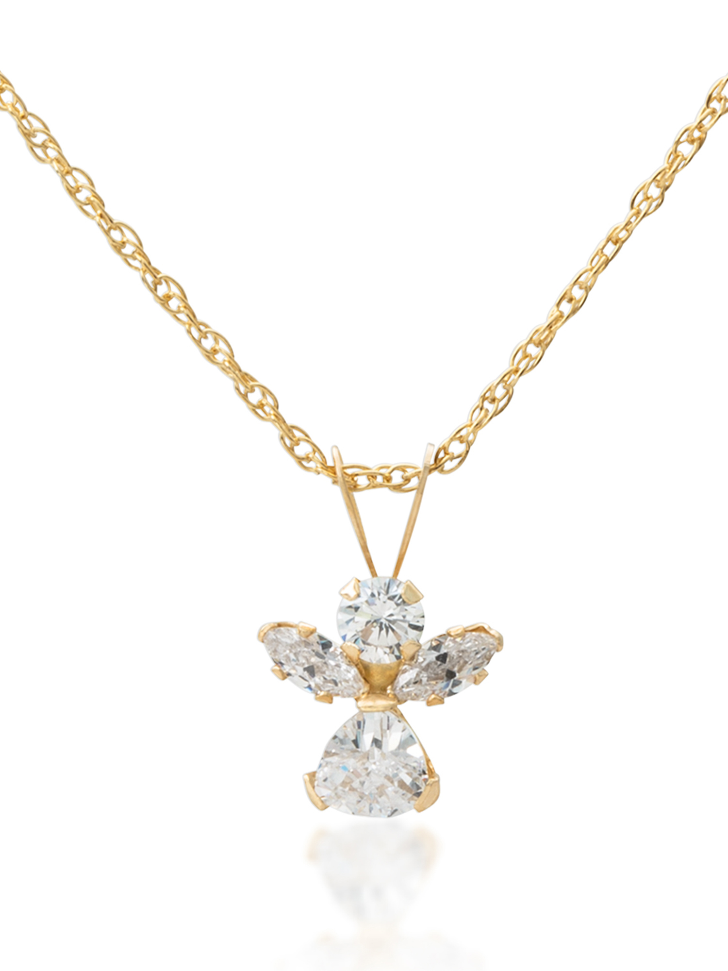 Girls' 14kt Yellow Gold Clear CZ Angel Pendant, 18""