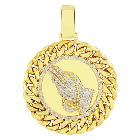Miami Link Design Praying Hands Pendant 14K Genuine Gold Lab Created Cubic Zirconias
