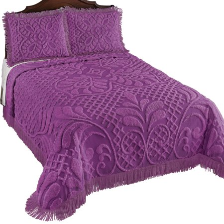 Antique Charm Chenille Bedspread, Luxurious Medallion Scroll with Fringe Trim, Full, Plum - Halloween Charm Pack Quilt