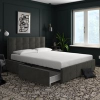 DHP Rose Upholstered Bed with Storage, Multiple Colors and Sizes Available