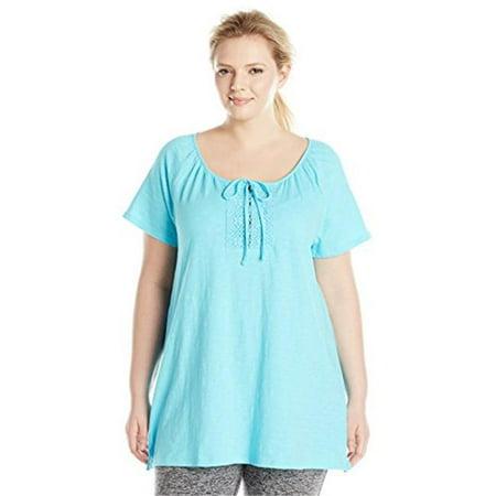 Short-Sleeve Slub-Textured Cotton Womens Tunic with Crochet Trim & Tie, Size 24 - Light Sky Blue